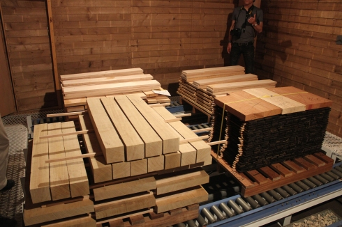 ©  Inside the wood drying unit at Fujigen.